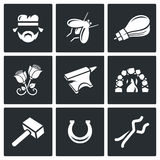 Forge icons. Vector Illustration. Vector  Flat Icons collection on a black background for design Stock Photo