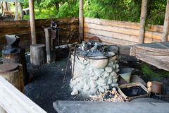 Forge in russian style in a village in Russia Stock Image