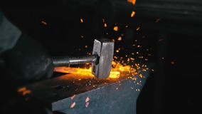 Free Forge Workshop. Smithy Manual Production. Hands Of Smith With Hammer Hit On Glowing Hot Metal, On The Anvil, The Forging Stock Images - 165456294