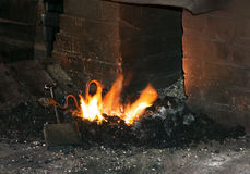 Forge in a 100 year old Blacksmith shop (smithy) in historic Galena, Illinois. Stock Photo