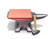 Forge Your Text. Red hot metal plate on the anvil Royalty Free Stock Images