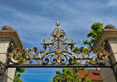 Forged arch over the entrance of Prague Castle Royalty Free Stock Images