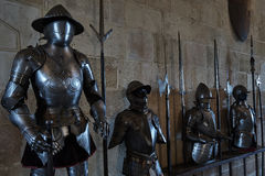Forged armor medieval knights. Forged armor of medieval knights in the old castle Royalty Free Stock Photos