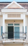 Forged balcony. A forged balcony in a colonial style house stock photos