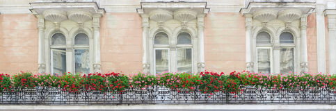 Forged balcony with flowers on the wall of old house Stock Photo