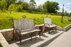 Forged Benches On Embankment Of River Moscow, In Kolomna.. Forged Benches On Embankment Of River Moscow In Sunny Day, In Kolomna, Moscow Region Stock Images