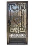 Forged brązowa dekoracyjna drzwiowa brama odizolowywająca nad białym backgroun Obrazy Royalty Free