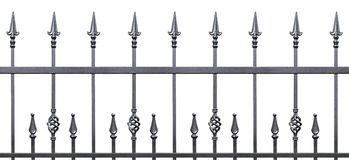 Forged decorative fence isolated horizontal panorama Royalty Free Stock Images