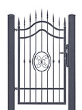 Forged decorative pedestrian gate, isolated vertical large detailed dark grey silhouette closeup wrought iron fleur-de-lis lattice Stock Photography