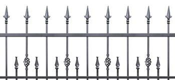 Forged dekoracyjnego ogrodzenia odosobniona horyzontalna panorama Obrazy Royalty Free