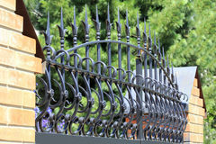 Forged fence gate on against a Park Stock Images