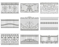 Forged fences set. Linear design. Vector outline illustration  on white Stock Photo