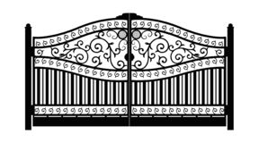 Forged gate. Architecture detail. Black forged iron gate with decorative lattice isolated on white background. Vector EPS 10 royalty free illustration