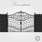 Forged gate. Architecture detail. Decorative wrought fences and gates vector set. Black gate fence frame. Vector EPS10. royalty free illustration