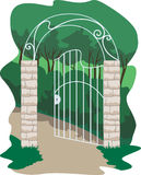 Forged gate in the garden Royalty Free Stock Photo
