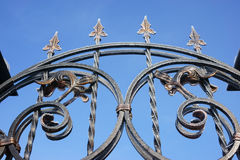forged gate in hoarfrost Stock Photography