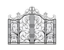 Forged gate isolated on white background. Architecture detail. Vector EPS10 Royalty Free Stock Photography
