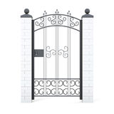 Forged gate with ornament. 3d rendering.  Stock Photo