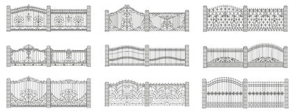 Forged gates and fences set Royalty Free Stock Images