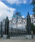 Forged gates near the House N.I. Sevastyanova in Yekaterinburg, Sverdlovsk region stock image