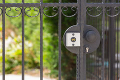 Forged gates. Wrought iron gates are locked Royalty Free Stock Photos