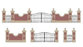 Forged iron gate with pillars Stock Photos