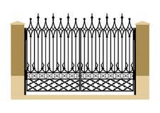 Forged iron gothic gate stock photos