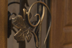 Forged metal pattern on the door. Forged metal pattern on the wooden door Stock Photography