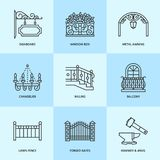 Forged metal products, artistic forging vector line icons. Blacksmith elements, wrought window fence, gate, railing Stock Photo