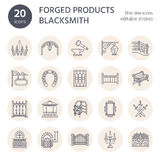 Forged metal products, artistic forging vector line icons. Blacksmith elements, wrought window fence, gate, railing Royalty Free Stock Photos