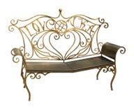 Forged parkowa ławka z ozdobnym wzorem odizolowywającym na białym backgrou Fotografia Royalty Free