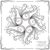 Forged Pattern Two. Pattern wrought products on a white background and framed. Can be used as a decorative element in the design, or as a model for the drawing Stock Image