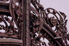 Forged products. Metal gates with decorative elements.  royalty free stock photography