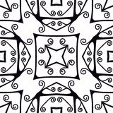 Forged seamless pattern. Black and white ornament. Stock Photo