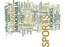 Forged Sports Memorabilia Text Background  Word Cloud Concept Stock Photos