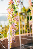 Forged wedding arch. Wedding on the sea at sunset, Montenegro, P Stock Photos