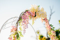 Forged wedding arch. Wedding on the sea at sunset, Montenegro, P Royalty Free Stock Photography