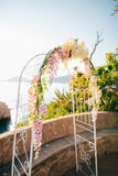 Forged wedding arch. Wedding on the sea at sunset, Montenegro, P Stock Images