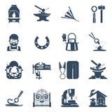 Forgeron Black Icons Set Image libre de droits