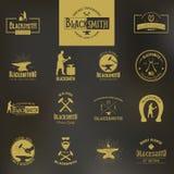 forgeron L'ensemble d'affiches de typographie de vintage, marque et imprime Photographie stock