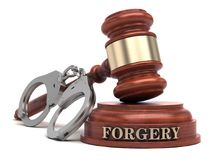 Forgery. Text on sound block and handcuffs Stock Photos