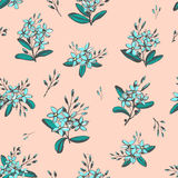Forget-me-not blue flowers bouquets seamless hand drawn pattern Stock Photography