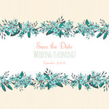 Forget-me-not blue flowers hand drawn bouquets horizontal frame Stock Image