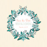 Forget-me-not blue flowers hand drawn bouquets round frame borde Royalty Free Stock Images