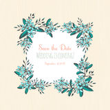 Forget-me-not blue flowers hand drawn bouquets square frame bord Stock Photography