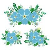 Forget-me-not floral στοιχεία καθορισμένα - συρμένο χέρι διάνυσμα Στοκ φωτογραφία με δικαίωμα ελεύθερης χρήσης