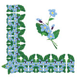 Forget me not floral corner and line frame elements isolated Stock Image