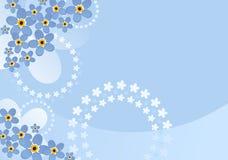 Forget-me-not floral spring background. Pale blue flower background with forget-me-nots, clouds and floral circles. Additional vector format vector illustration