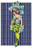 Forget Me Not flower children. Illustrated personification of flowers and plants Royalty Free Stock Image
