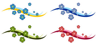 Forget Me Not Flower Decoration. With background waves in various colours. Can be used as header, footer, border or stand-alone decoration. Smooth flow, breezy Royalty Free Stock Photography